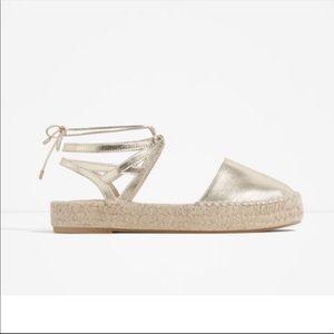 Zara Gold Metallic Espadrille Sandals Lace Up Flat